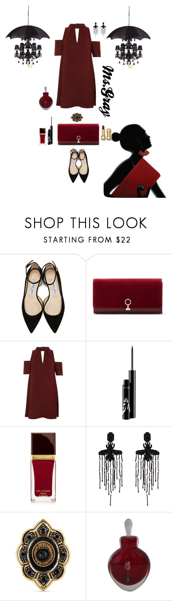 """""""Madame Demimonde"""" by fmsgray ❤ liked on Polyvore featuring Jimmy Choo, Louise et Cie, Topshop, Tom Ford, Gucci and Dot & Bo"""