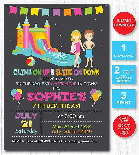 Water Slide Invitation Twins Birthday Chalkboard Digital
