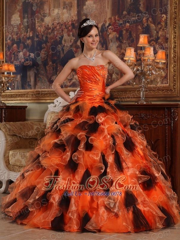 Beautiful Orange and Black Quinceanera Dress Strapless Organza Ball Gown  http://www.fashionos.com     sleeveless quinceanera dress | ruffled quinceanera dress |