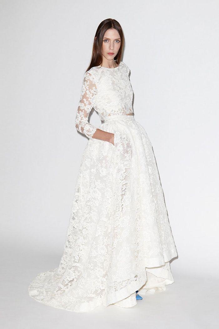 Houghton Aligote Top & Macabeau Skirt | Super Stylish Two-Piece Wedding Dresses