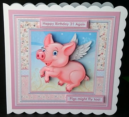 2 sheet mini kit with 3d step by step decoupage. Topper is approximately 8 inch or can be reduced in size for smaller cards.Suitable for a humorous female birthday card.