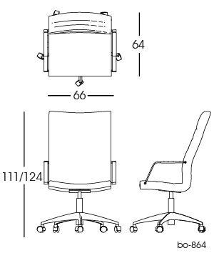 bo-864 Office Chair 2D | Lund & Larsen for bo-ex furniture. http://www.bo-ex.dk/project/bo-855/