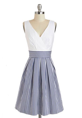 Oceanfront Properly Dress - Blue, Stripes, Exposed zipper, Pleats, A-line, Tank top (2 thick straps), V Neck, Pockets, Daytime Party, Nautical, White, Americana, Mid-length, Top Rated