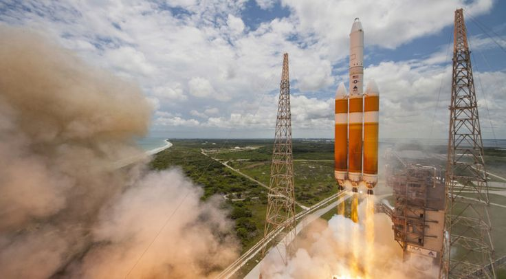 A United Launch Alliance Delta IV-Heavy rocket lifts off from Space Launch Complex 37B at Cape Canaveral Air Force Station, Fla.