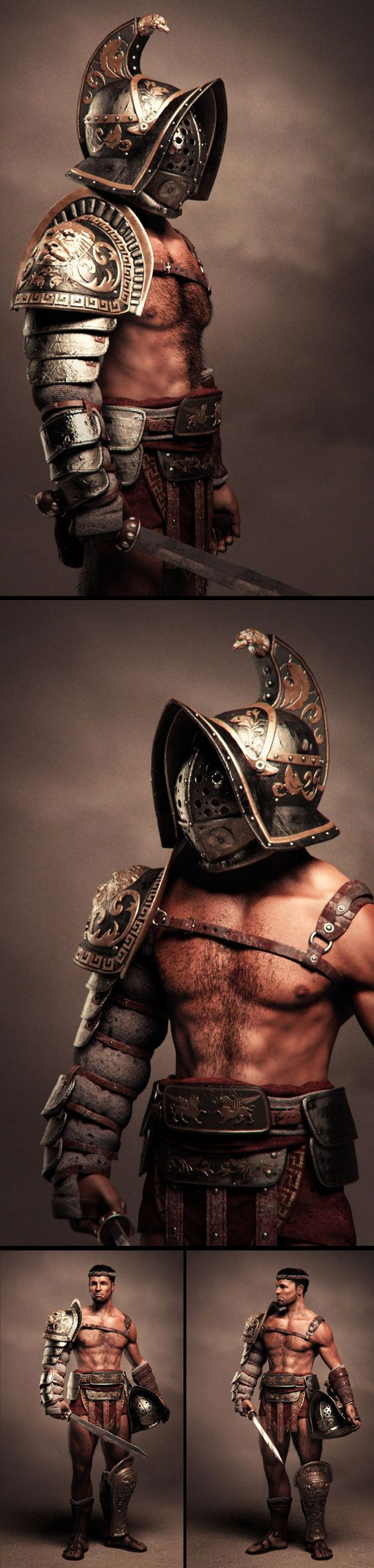 Gladiator By Eric Durante? I'm not a fighter and have no one to wear armor around me, so this isn't really garb inspiration...but umm... Hot damn.