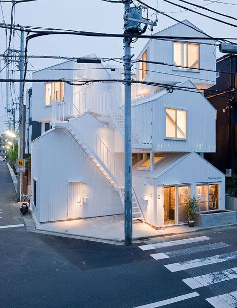 The stacked house-shaped dwellings that make up architect Sou Fujimoto's 2010 creation, Tokyo Apartment