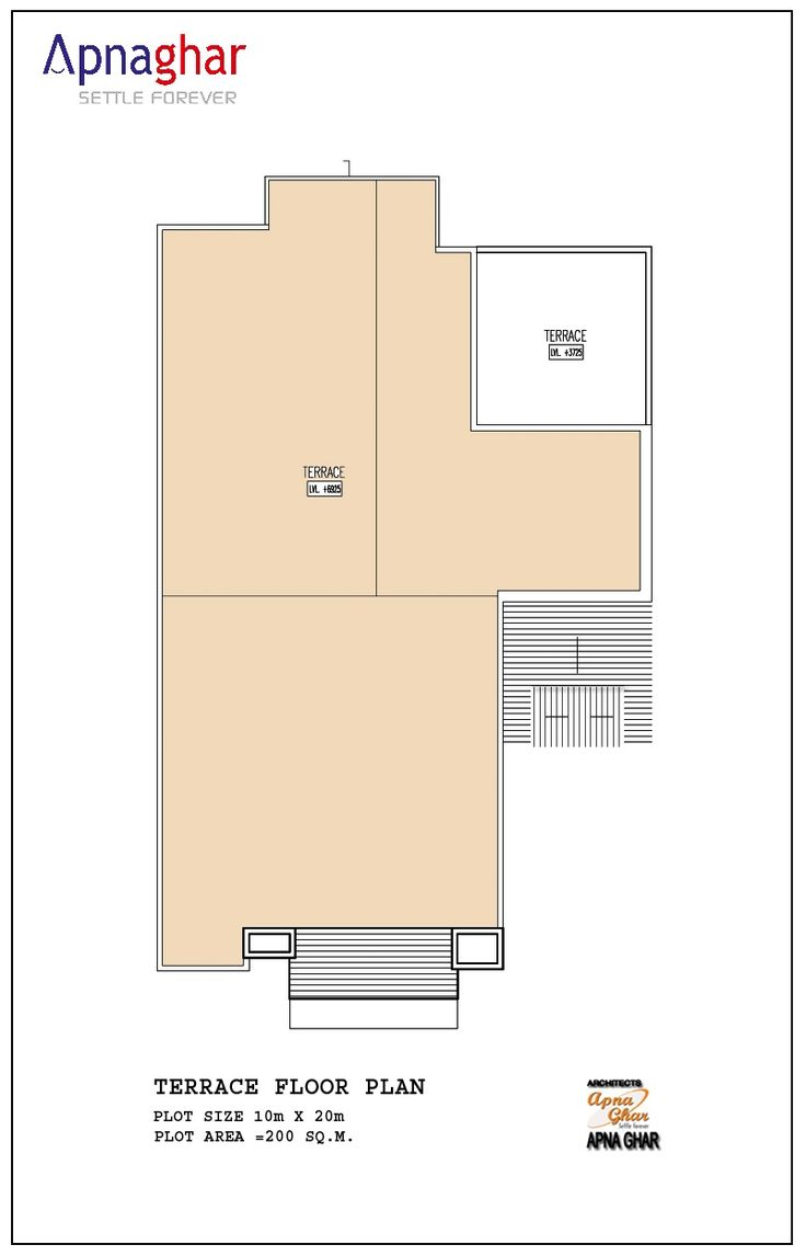 Floor Plan of terrace of a house designed by Apnaghar.  Checkout our House Plan Gallery - http://apnaghar.co.in/house-plan-gallery/