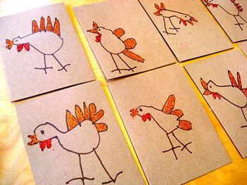 child-drawn Happy Thanksgiving cards at My Paper Crane
