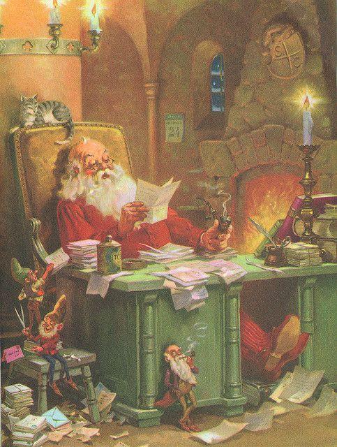 "VINTAGE 1949 ""THE OFFICE OF SANTA CLAUS"" CHRISTMAS ART PRINT BY GEORGE HINKE."