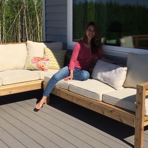 Check out this project on RYOBI Nation - This Outdoor Sofa Sectional Piece is a great way to expand your already existing  Outdoor Couch  into the perfect L-Shaped or U-Shaped Sofa!