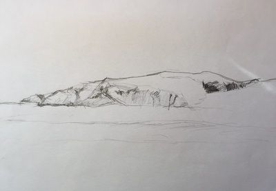 Graphite Sketch of the Coast of Skye  Pastel, Pen and Pencil - Art by Katherine Burrows