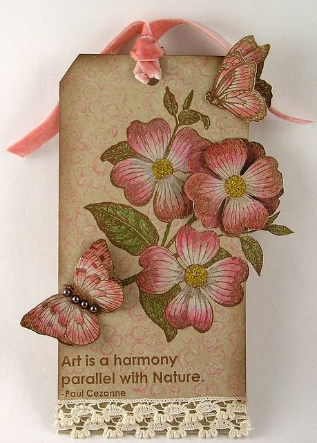 sweet Springtime tage ... kraft base with dogwood flowers and butterflies ...