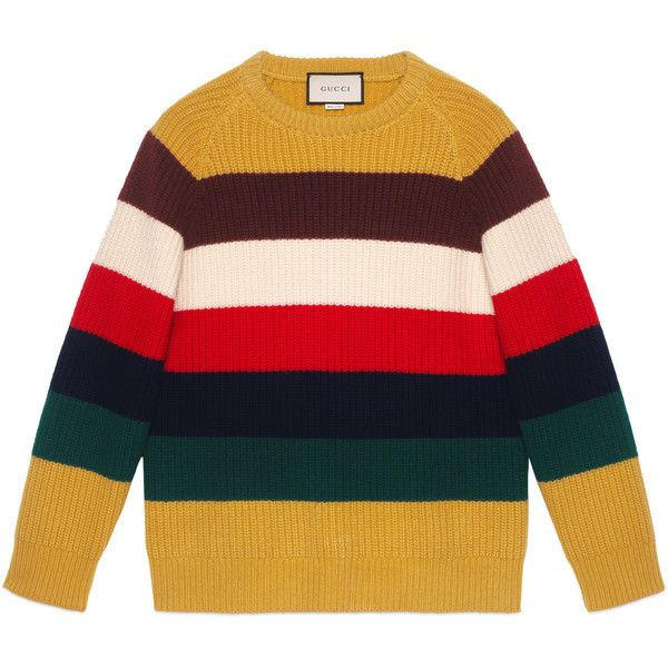 Gucci Striped Wool Sweater ($695) ❤ liked on Polyvore featuring men's fashion, men's clothing, men's sweaters, sweaters, men, new knitwear, ready-to-wear, mens colorful sweaters, gucci mens sweater and mens crewneck sweaters