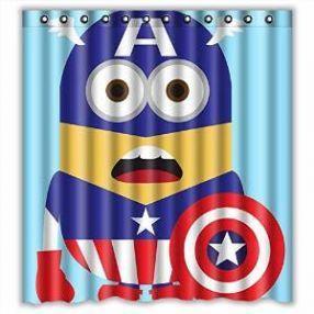 17 best images about cute minion shower curtain designs on pinterest bathrooms decor kid - Captain america curtains ...