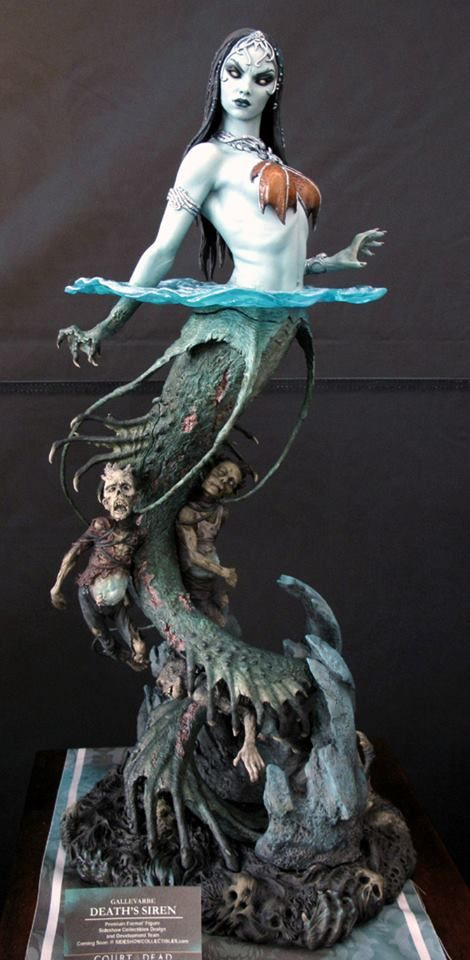 "Gallavarbe Death's Siren by MarkNewman.Here is the latest sculpture I did for the original line of sculptures 'Court of the Dead' from Sideshow collectibles. She stands around 23"" tall. Painted by the very talented Kat Sapene."
