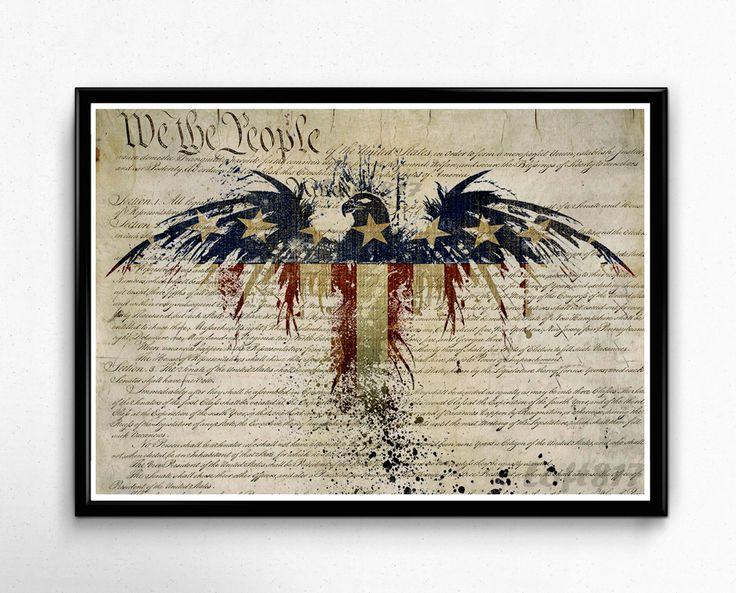 Patriotic Decor, American flag art, american eagle art print, US constitution art 2nd amendment art print