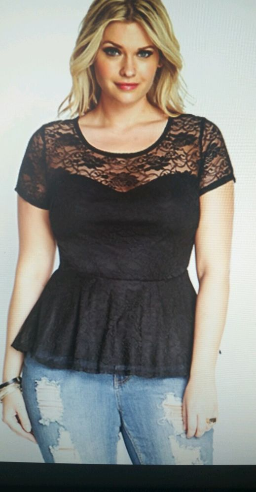 Plus size black lace peplum dress