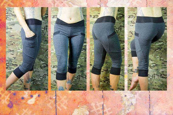 Eco capri  yoga pants with pockets in bamboo jersey by Crossfox, $75.00