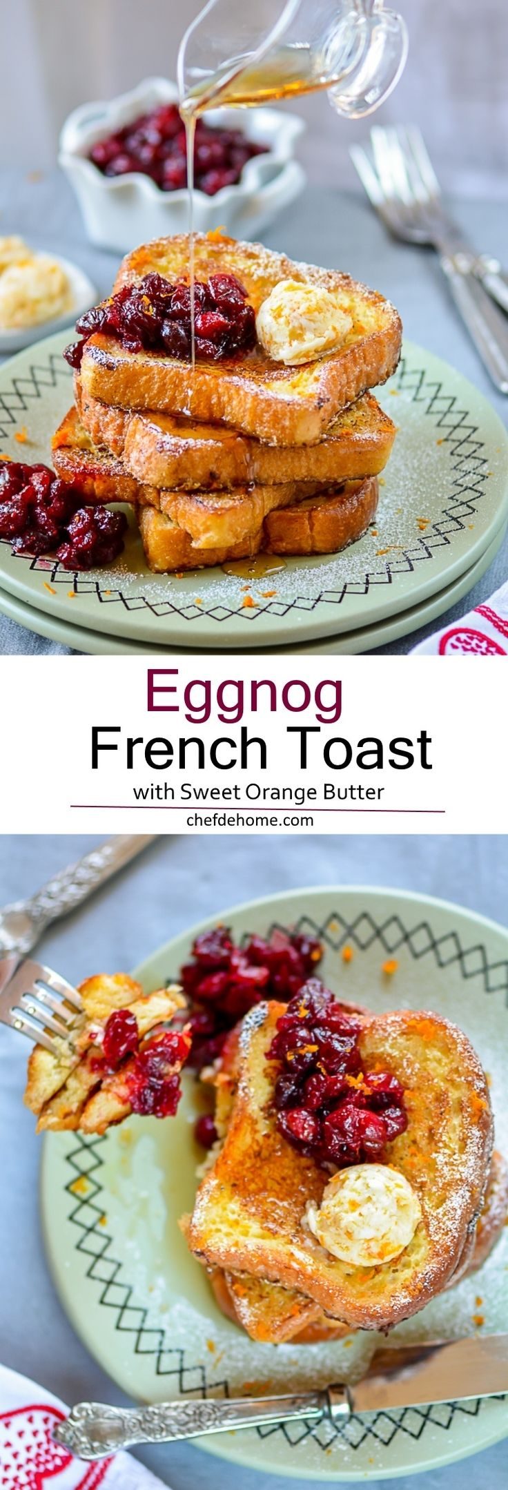 Eggnog French Toast with Orange Butter - make any day feel like holiday or to serve a special someone breakfast-in-bed! #valentinesday