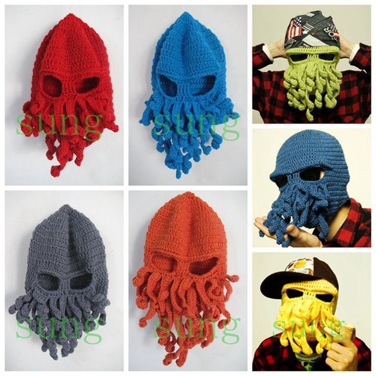 Winter-Warm-Novelty-Handmade-Knitting-Wool-Funny-Cthulhu-Beard-Octopus-Hats-Mask-Caps-Crochet-Tentacle-Beanies.jpg (750×750)