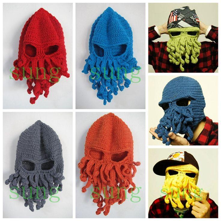 Winter-Warm-Novelty-Handmade-Knitting-Wool-Funny-Cthulhu-Beard-Octopus-Hats-Mask-Caps-Crochet-Tentacle-Beanies.jpg (750×750)