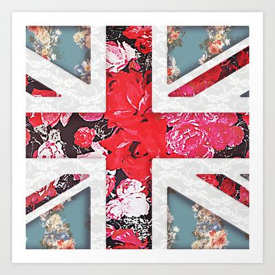 God save the Queen   Elegant girly red floral & lace Union Jack  Art Print by Girly Trend -