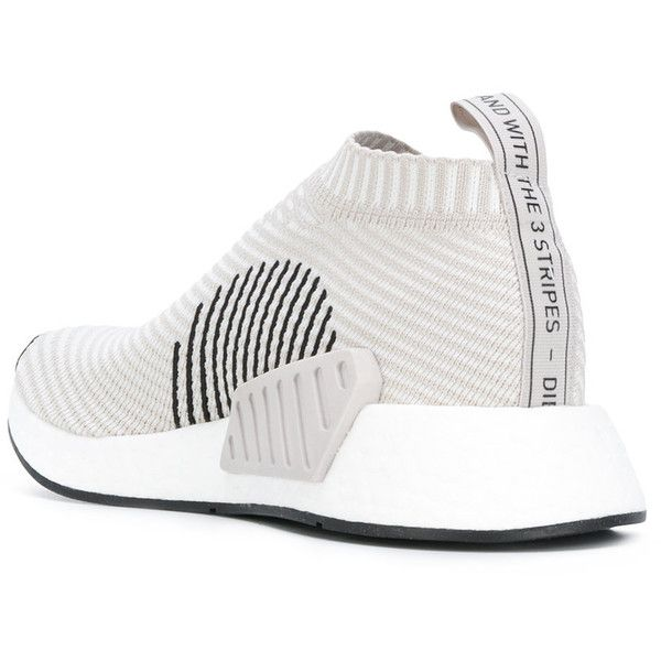 Adidas Originals NMD_CS2 Primeknit sneakers (655 ILS) ❤ liked on Polyvore featuring shoes, sneakers, round cap, round toe shoes, wrap around shoes, adidas originals sneakers and adidas originals