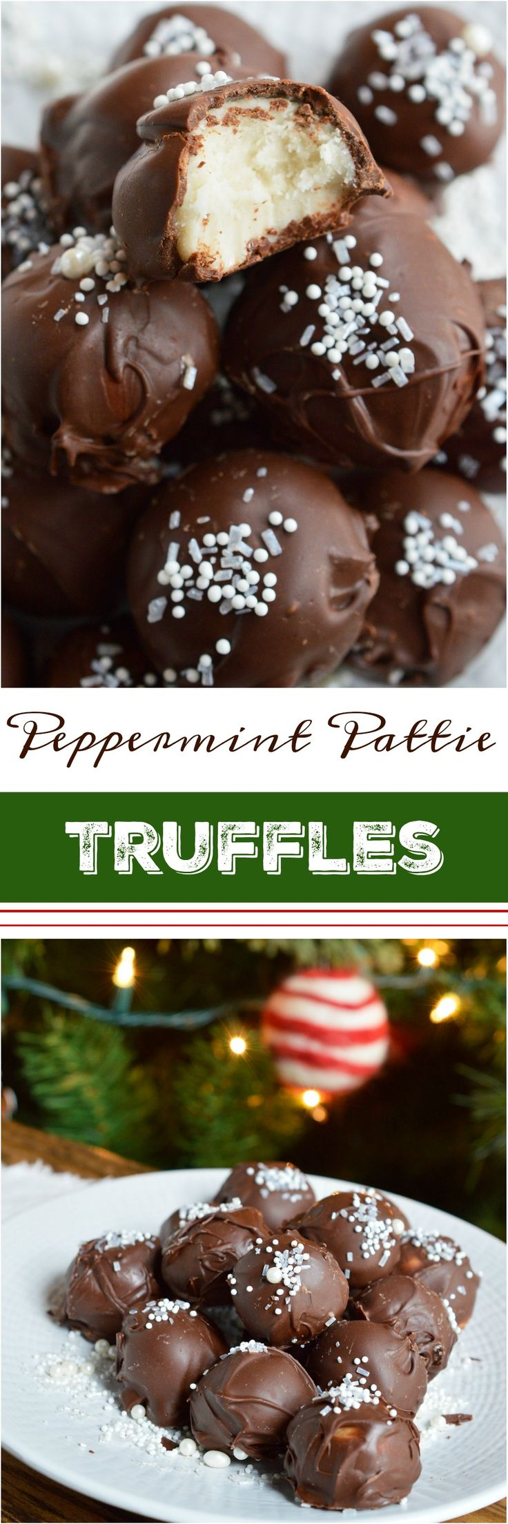 It's time for holiday treat platters and homemade gifts. These No-Bake Peppermint Pattie Chocolate Truffles will be the star of any Christmas dessert tray! Cool peppermint filling is shaped into balls and coated with chocolate then topped with sprinkles. #HolidayDelight #IDelight #ad