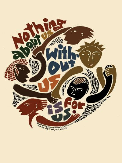 """""""Nothing About Us"""" - Poster by Ricardo Levins Morales. Click the image for more details."""