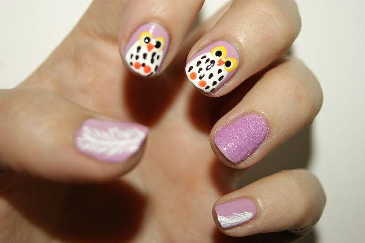 Owl and feather nail art by me :) Cassandra Berg #nailart #naildesign #nails #nailpolish #negler #negledesign #neglelakk