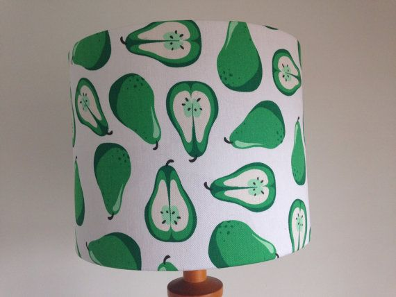 Funky pear print lampshade by LuluLamps on Etsy, $40.00