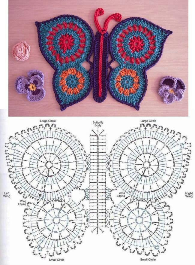 Haakpatroon vlinder: Beautiful Butterflies, Hook, Butterflies, Crochet Butterflies, Circles Motif, Crochet Flowersheartsbutterfli, Crochet Patterns, Crochet