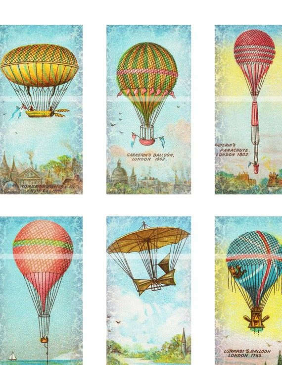 hot air balloons make me happy - there's no enough money to PAY me to go up in one, but I love the old French designs
