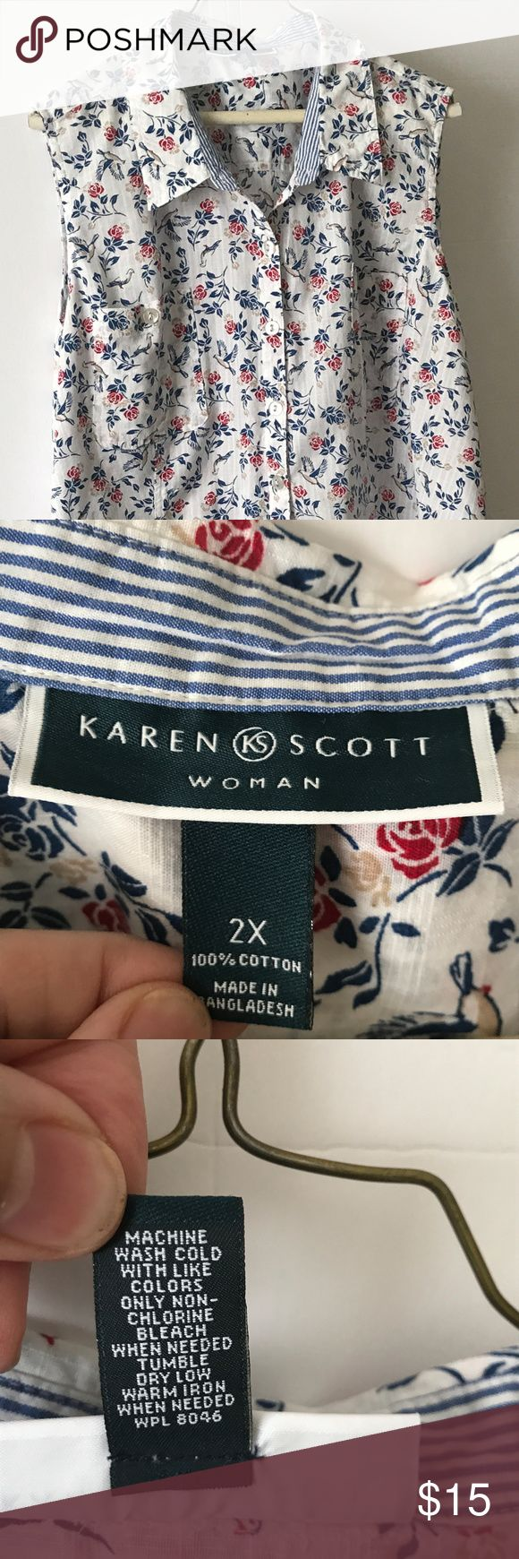 Karen Scott Woman Sleeveless Summer Blouse Size 2X Comfortable Karen Scott Woman blouse. Sleeveless, size 2X. Two breast pockets. Worn 1 season. EUC! Karen Scott Woman Tops Blouses