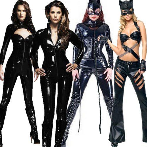 Ladies-PVC-Superhero-Catsuit-Catwoman-Fancy-Dress-Costume-Lycra-Spandex-Bodysuit