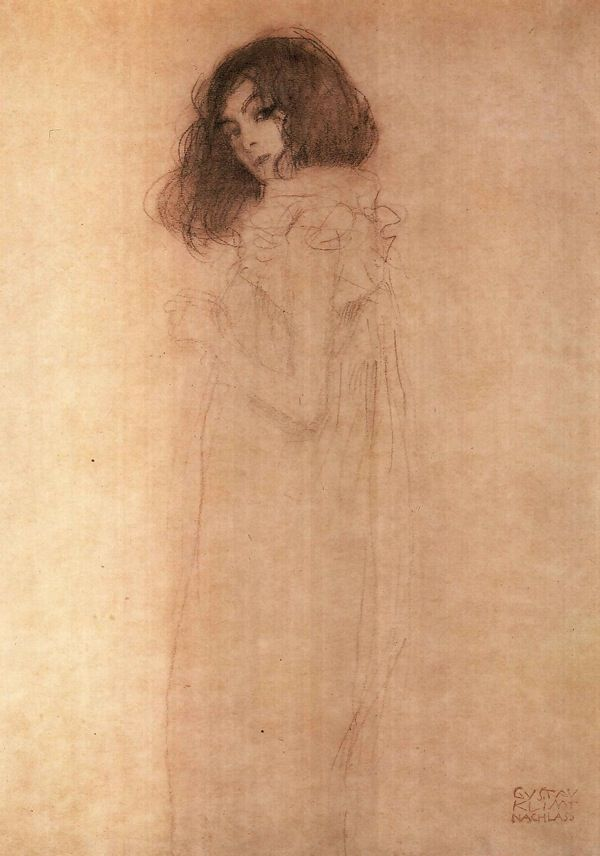 Drawing of a Girl by Gustav Klimt (1862-1918)