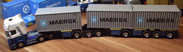 Tekno Bontrans Rotterdam Holland Scania R500 Topline mit D-Tec Combitrailer beladen mit 3 Tekno 20ft MAERSK Container Gigaliner Containertransport – Indrek Allik