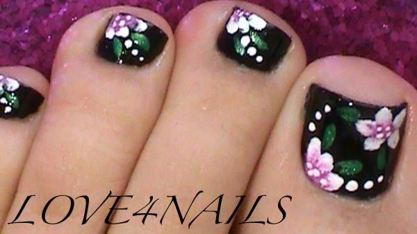 Black Toe Nails Flower Design by LOVE4NAILS - Nail Art Gallery nailartgallery.nailsmag.com by Nails Magazine www.nailsmag.com #nailart