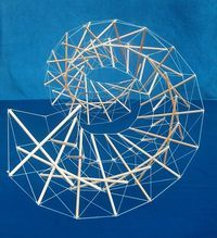 Beautiful tensegrity model imitating a DNA structure by Marcelo Pars