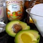 Avocado Pear Smoothie filled with delicious healthy power foods a nutritious easy breakfast, 160 calories, 4 Weight Watchers Points Plus, Pale Green Smothie