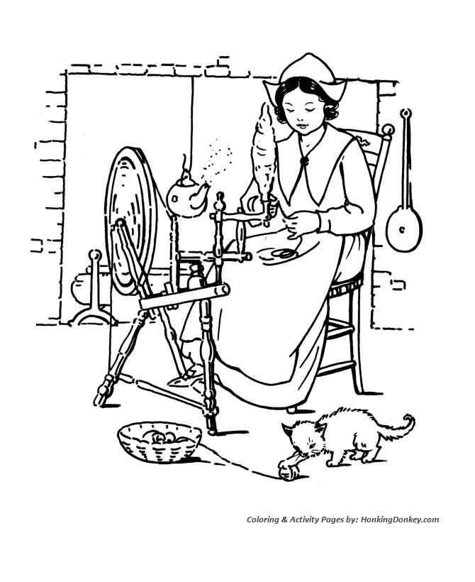 pilgrim indian thanksgiving coloring pages - photo#23