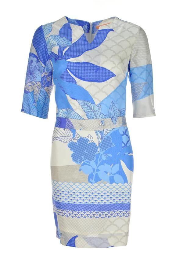 Vilagallo Luana Floral Print Silk Sleeveless Tunic Dress, Blue Multi | McElhinneys Department Store