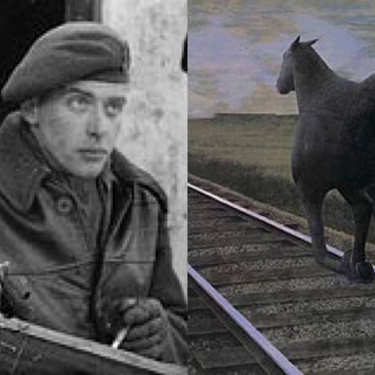 """Famous Artist Birthdays! Alex Colville produced iconic images such as """"To Price Edward Island"""", """"Horse and Train"""", and """"Man on Verandah""""—the most expensive work of art ever sold by a living Canadian artist.  Pictured: Photograph of Alex Colville in 1945, and """"Horse and Train"""", 1954 by Alex Colville.  20th Century Masterworks available for purchase through Robin Rile Fine Art Contact info@robinrile.com"""