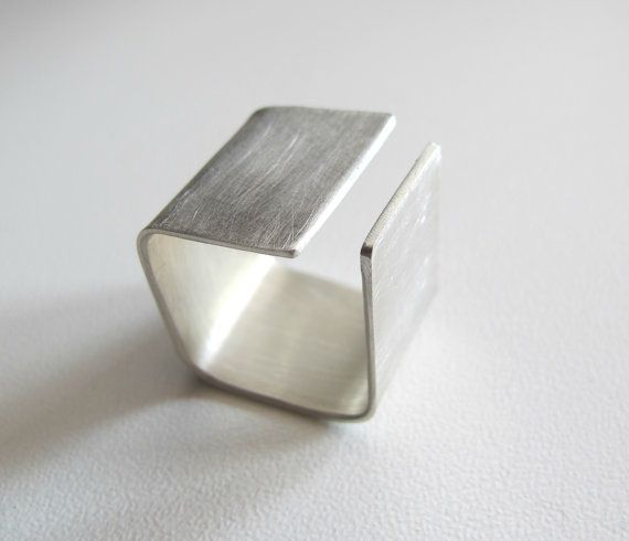 Silver ring Square wide band ring modern simple by ZizouArT
