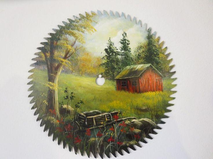 hand painted circular saw blade antique wheel barrel