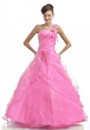 Faironly Light Pink One Shoulder Formal Prom Dress,