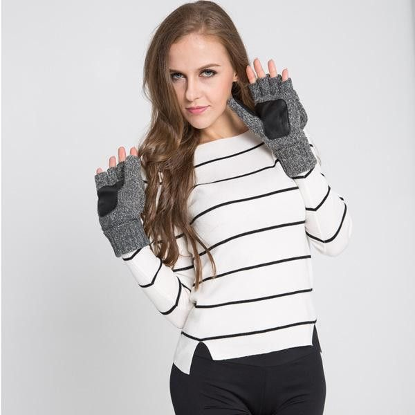 2016 Winter Fashion Men Women Gloves Cashmere Warm Wool Mittens Half Finger Glove Luvas Feminina Wrist Warmers WX-AGB365