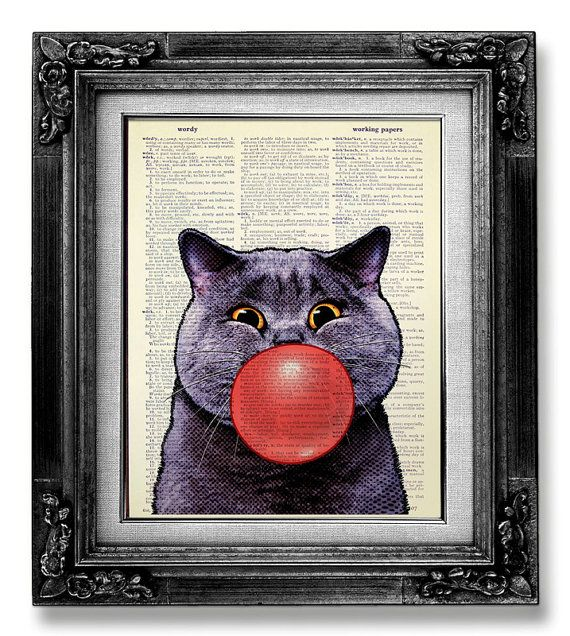 DECORATIVE ART, Cat Wall Hanging, Cat Gift, OFFICE Art, Funny Cat Print, Cat Illustration, College Dorm Wall Decor, Old Book Art, Bubble Cat on Etsy, $10.00