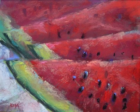 A Slice of Summer: Watermelon Pastel  Painting by artist Karen Margulis