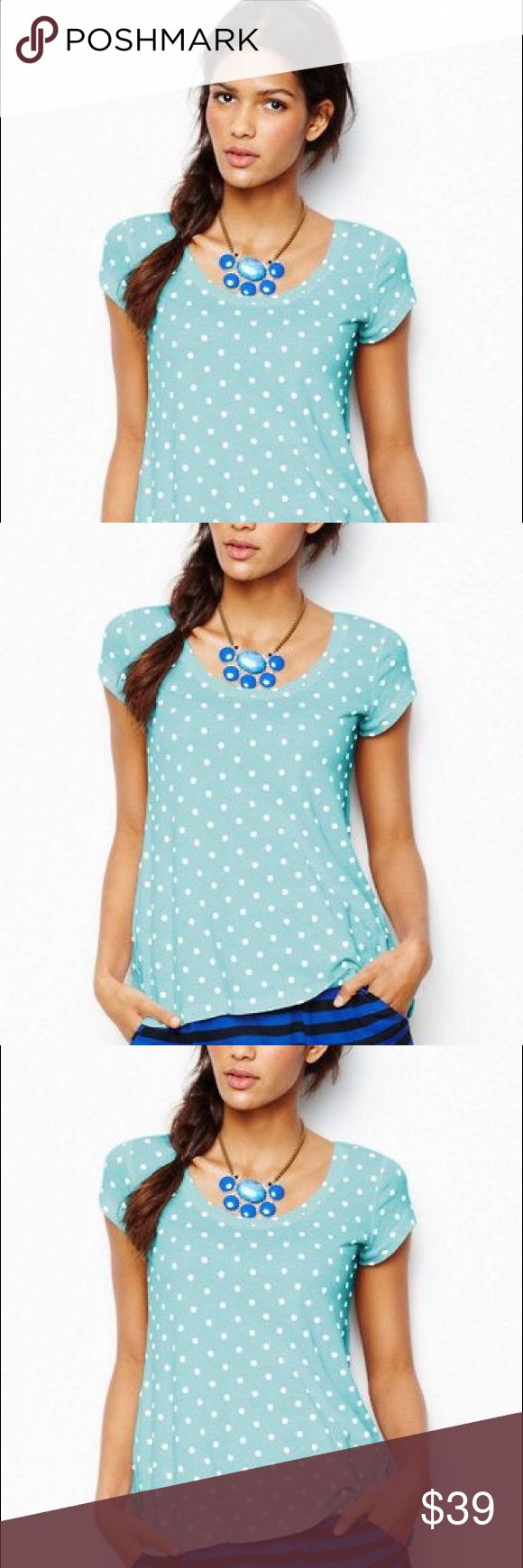 🌱SOFT Cotton Cap Sleeve Tee T-Shirt Polka Dot Top Brand new! Factory Sealed! Size PP. Very Soft Cotton! Also available in White-Black GARNET HILL Tops Tees - Short Sleeve